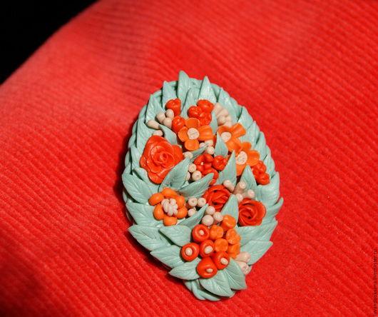 Броши ручной работы. Ярмарка Мастеров - ручная работа. Купить Брошь с цветами из полимерной глины. Handmade. Коралловый, украшение из пластики