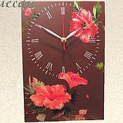 """Для дома и интерьера ручной работы. Ярмарка Мастеров - ручная работа Часы настенные """"Красный цветок""""  в гостиную большие. Handmade."""