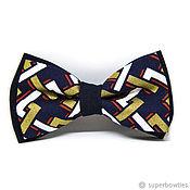 Аксессуары handmade. Livemaster - original item Bow tie blue with gold and red. Handmade.