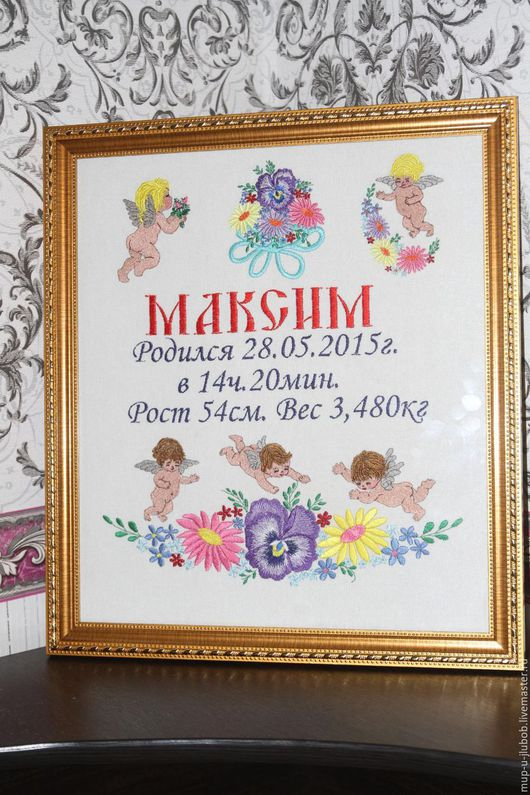 Подарки для новорожденных, ручной работы. Ярмарка Мастеров - ручная работа. Купить Детская вышитая метрика.. Handmade. Метрика, Машинная вышивка