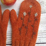 Аксессуары handmade. Livemaster - original item Mittens knitted, felted orange mood. Handmade.