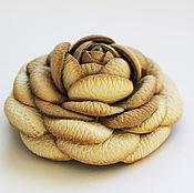 Украшения ручной работы. Ярмарка Мастеров - ручная работа Брошь цветок из кожи. Handmade.