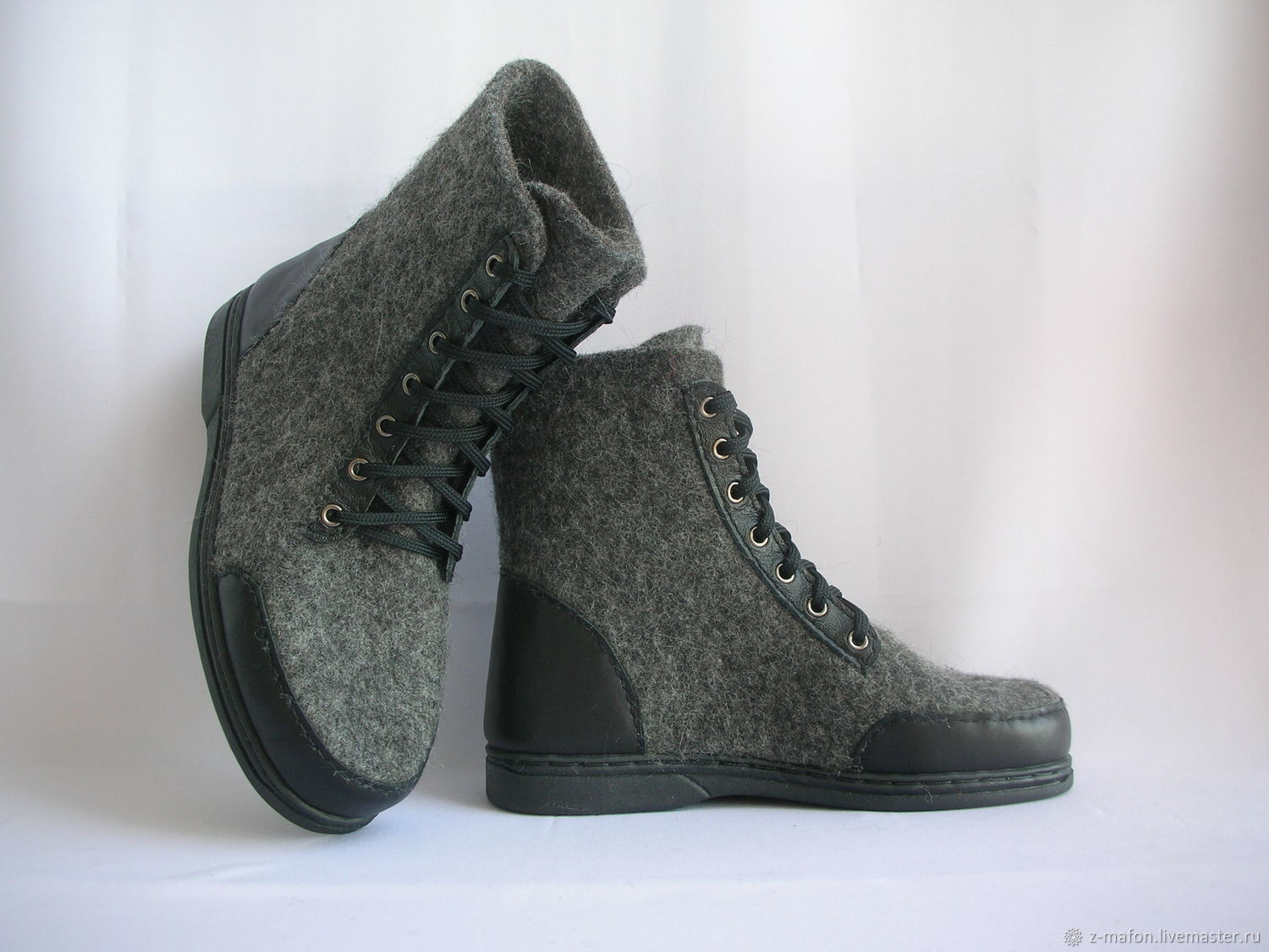 Felted grey boots with leather trim, Boots, Tomsk,  Фото №1