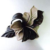 """Аксессуары handmade. Livemaster - original item Flower leather brooch Orchid """"Arkaim"""" dark brown and taupe. Handmade."""