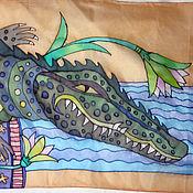 """Аксессуары ручной работы. Ярмарка Мастеров - ручная работа Батик шарф """"Крокодил"""". Handmade."""