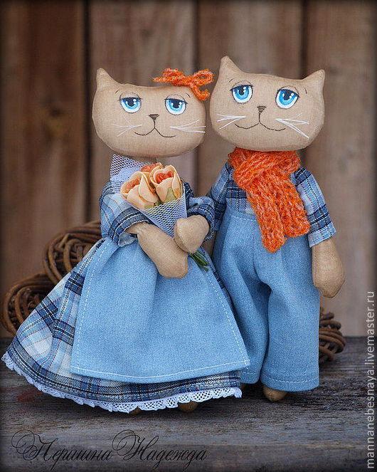 Ароматизированные куклы ручной работы. Ярмарка Мастеров - ручная работа. Купить Джинсовая парочка. Влюблённые коты.Кофейная Ароматическая Игрушка. Handmade.