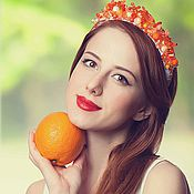 Украшения ручной работы. Ярмарка Мастеров - ручная работа Оранжевый восторг (ободок расшитый). Handmade.