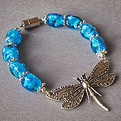 Украшения handmade. Livemaster - original item Blue dragonfly bracelet and earrings made of Italian glass. Handmade.