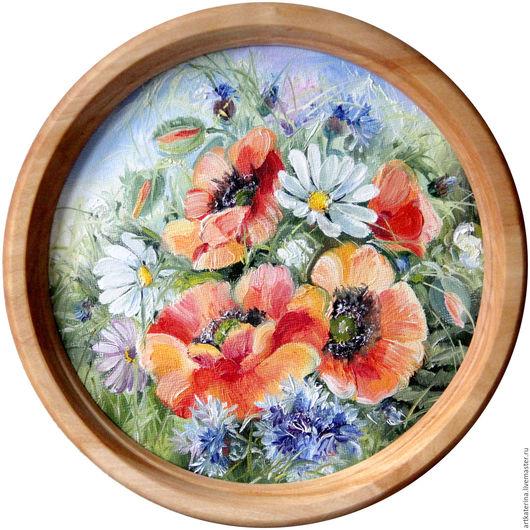 Картины цветов ручной работы. Ярмарка Мастеров - ручная работа. Купить Маки. Handmade. Красный, маки, васильки, ромашки