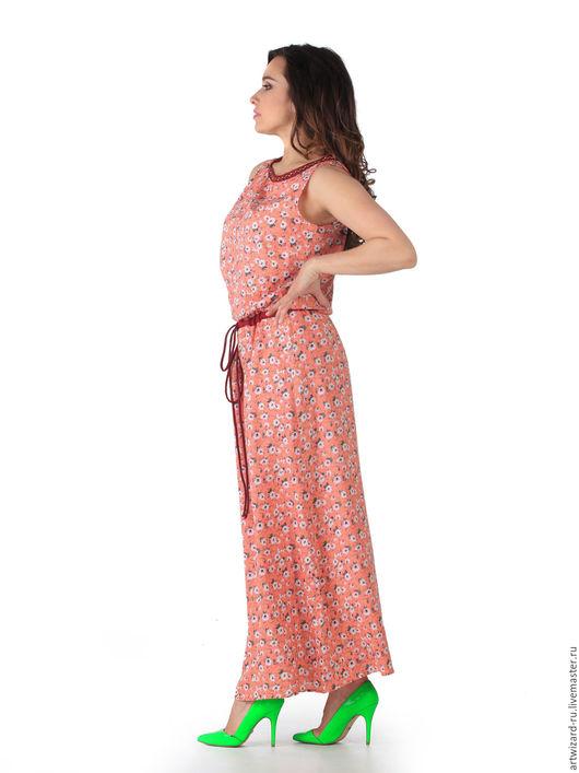 Платья ручной работы. Ярмарка Мастеров - ручная работа. Купить Платье макси летнее. Handmade. Цветочный, платье без рукавов