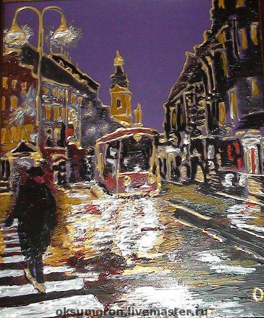 """Город ручной работы. Ярмарка Мастеров - ручная работа. Купить Картина """" ...а ты придешь, когда темно..."""". Handmade."""