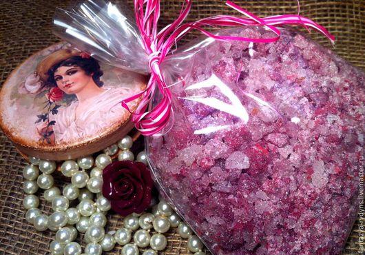 Соль для ванны ручной работы. Ярмарка Мастеров - ручная работа. Купить Розовая соль для маникюра/педикюра.. Handmade. Маникюр, укрепление ногтей