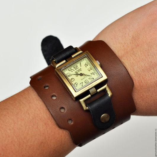 """Часы ручной работы. Ярмарка Мастеров - ручная работа. Купить Часы наручные с кожаным ремешком """"Тесла"""". Handmade. Коричневый"""
