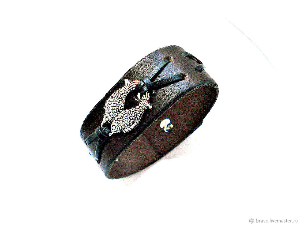 Men's leather fish bracelet, Cuff bracelet, Moscow,  Фото №1