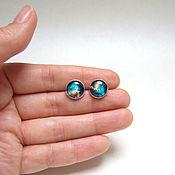 handmade. Livemaster - original item Stud earrings with Universe Space Galaxy Nebula 2. Handmade.