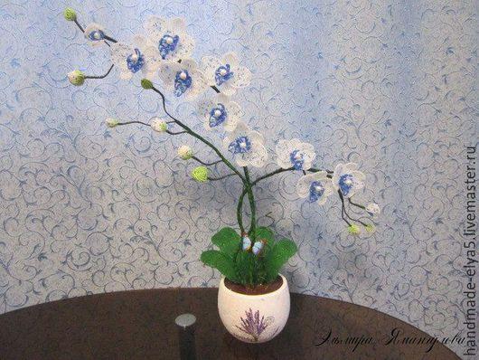 Цветы ручной работы. Ярмарка Мастеров - ручная работа. Купить Орхидея из бисера. Handmade. Синий, орхидея ручной работы, проволока