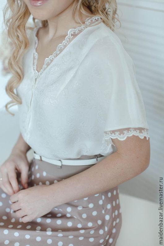 Блузки ручной работы. Ярмарка Мастеров - ручная работа. Купить Блузка белая с кружевом.. Handmade. Белый, блузка романтичная