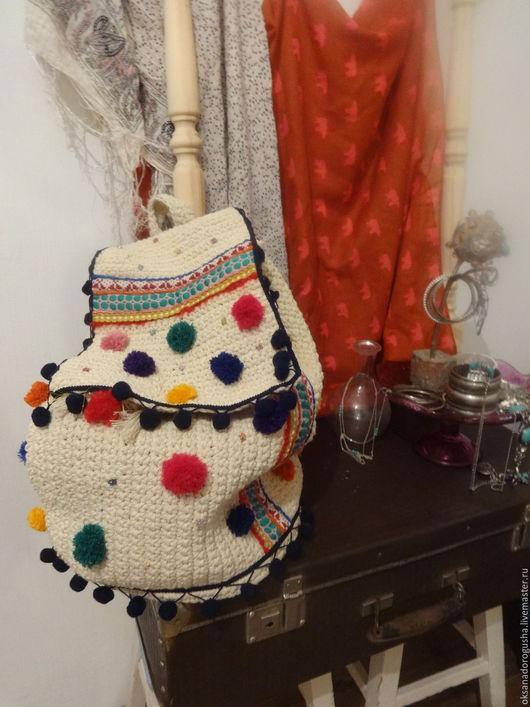 Рюкзаки ручной работы. Ярмарка Мастеров - ручная работа. Купить Этно- рюкзак с помпонами. Handmade. Комбинированный, рюкзак женский, вязаный
