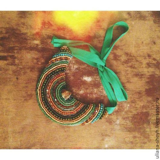 Воротнички ручной работы. Ярмарка Мастеров - ручная работа. Купить Ожерелье-воротник из бисера.. Handmade. Тёмно-зелёный, в полоску, бисер