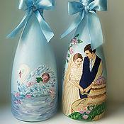Свадебный салон handmade. Livemaster - original item The design of the bottles. Painted bottles.Wedding bottle. Decor bottles. Handmade.