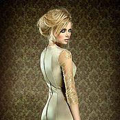 Одежда ручной работы. Ярмарка Мастеров - ручная работа Трикотажное платье с кружевными рукавами. Handmade.
