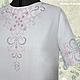Льняное платье с ручной вышивкой Жемчужное-3. Модная одежда с ручной вышивкой. Творческое ателье Modne-Narodne.