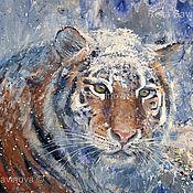 Картины и панно handmade. Livemaster - original item The Amur Tiger painting in mixed media. Handmade.