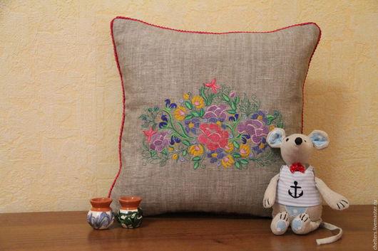 """Текстиль, ковры ручной работы. Ярмарка Мастеров - ручная работа. Купить Льняная вышитая  подушка """"Цветы"""". Handmade. Подушка, подарок"""