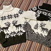 Одежда handmade. Livemaster - original item The reindeer sweater from sheep wool. Handmade.