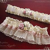 """Свадебный салон ручной работы. Ярмарка Мастеров - ручная работа Свадебные подвязки для невесты """"Шебби шик"""". Handmade."""