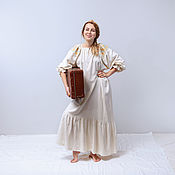 Русский стиль handmade. Livemaster - original item 100% Silk, Russian-style shirt Dress with embroidery on the shoulders, long. Handmade.