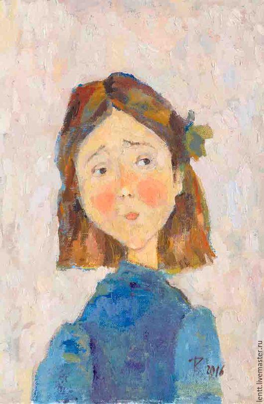 """Люди, ручной работы. Ярмарка Мастеров - ручная работа. Купить Картина  маслом """"Портрет. Девочка с зеленым бантом"""". Handmade."""
