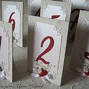 """Свадебный салон ручной работы. Ярмарка Мастеров - ручная работа Номера на банкетные столы """"Розы с золотом"""". Handmade."""