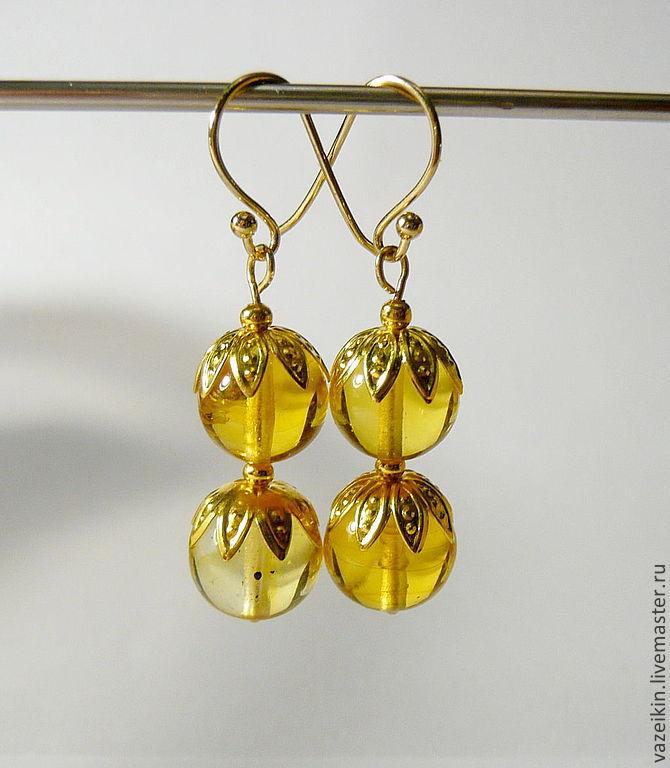 Amber earrings S-06, Earrings, Svetlogorsk,  Фото №1