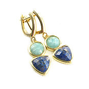 Украшения handmade. Livemaster - original item Lapis lazuli earrings, amazonite earrings,natural stone earrings. Handmade.