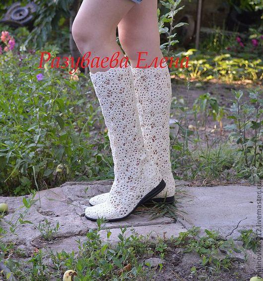 """Обувь ручной работы. Ярмарка Мастеров - ручная работа. Купить сапожки летние""""Александра"""" вязаные. Handmade. Бежевый, ирландское кружево"""