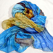 Аксессуары handmade. Livemaster - original item Silk stole Batik Lagoon. Handmade.