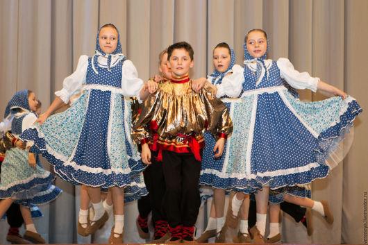 """Танцевальные костюмы ручной работы. Ярмарка Мастеров - ручная работа. Купить шуточный танец"""" Самовар"""". Handmade. Голубой, платье для девочки"""