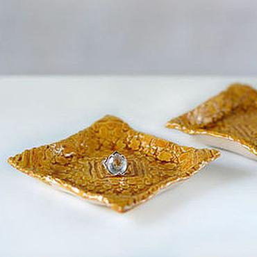 Посуда ручной работы. Ярмарка Мастеров - ручная работа Кружевная тарелка для мелочей Медовый квадрат. Handmade.