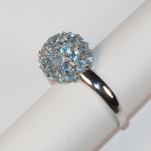 Кольца ручной работы. Ярмарка Мастеров - ручная работа. Купить Кольцо с топазом голубым серебряное. Handmade. Голубой, кольцо с топазом
