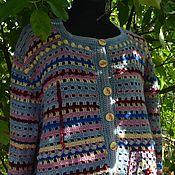 Одежда handmade. Livemaster - original item Cardigan knitted Ryabina.Bomber. Blue, Burgundy.. Handmade.