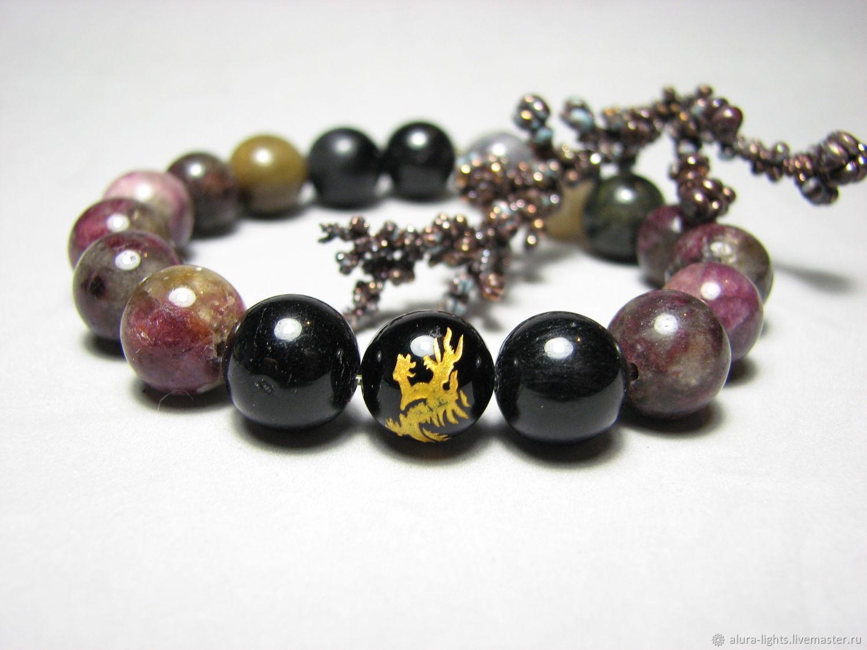 Tourmaline bracelet and dragon bead ' Treasure', Bead bracelet, Moscow,  Фото №1