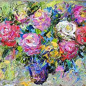 """Картины и панно ручной работы. Ярмарка Мастеров - ручная работа """"Букет Роз в Стиле Прованс""""- картина маслом с цветами. Handmade."""