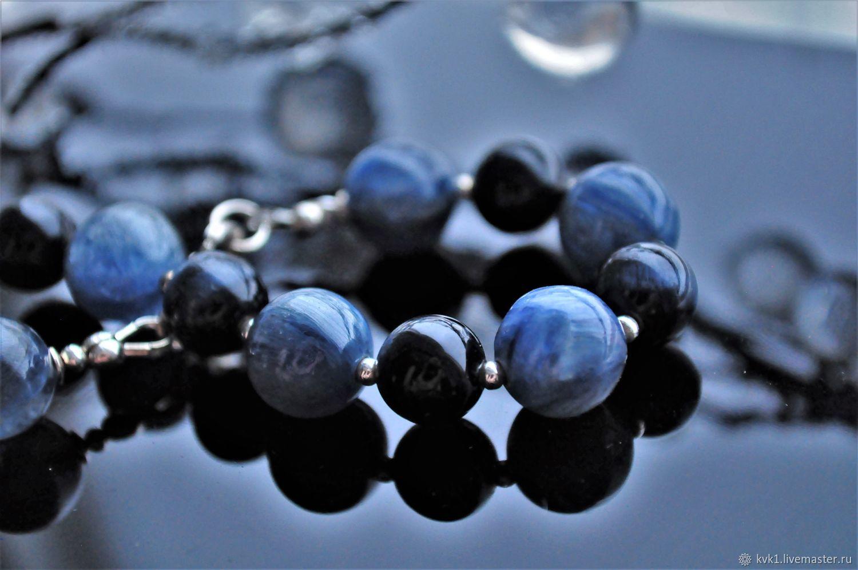 Silver kyanite and Hawkeye bracelet ' Blue', Bead bracelet, Moscow,  Фото №1