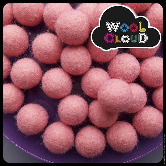 Войлочные бусины 20 мм `Розовый`