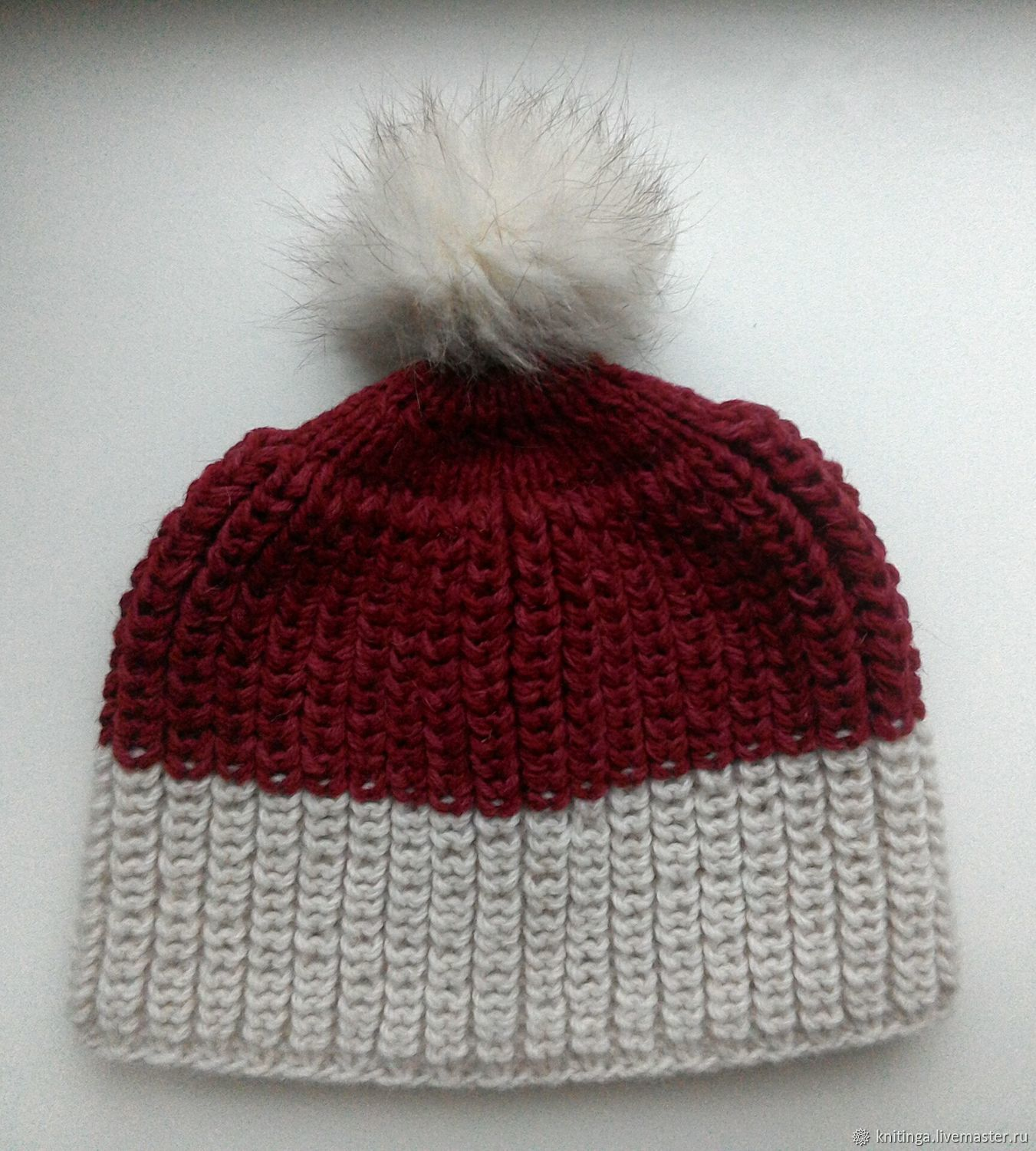 Knitted hat with pompom 56-58 cm, Caps, Vilnius,  Фото №1