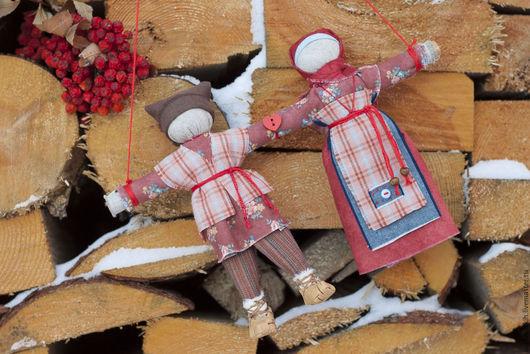 Народные куклы ручной работы. Ярмарка Мастеров - ручная работа. Купить Кукла народная Неразлучники Зимние ягоды. Handmade. пара