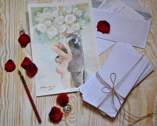 Ню ручной работы. Ярмарка Мастеров - ручная работа. Купить Твои письма. Handmade. Любовь, акварельная живопись, watercolor, цветы