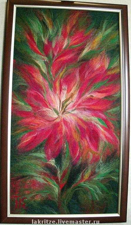 """Картины цветов ручной работы. Ярмарка Мастеров - ручная работа. Купить Панно """"Аленький цветок"""". Handmade. Цветок, шерстяная живопись"""