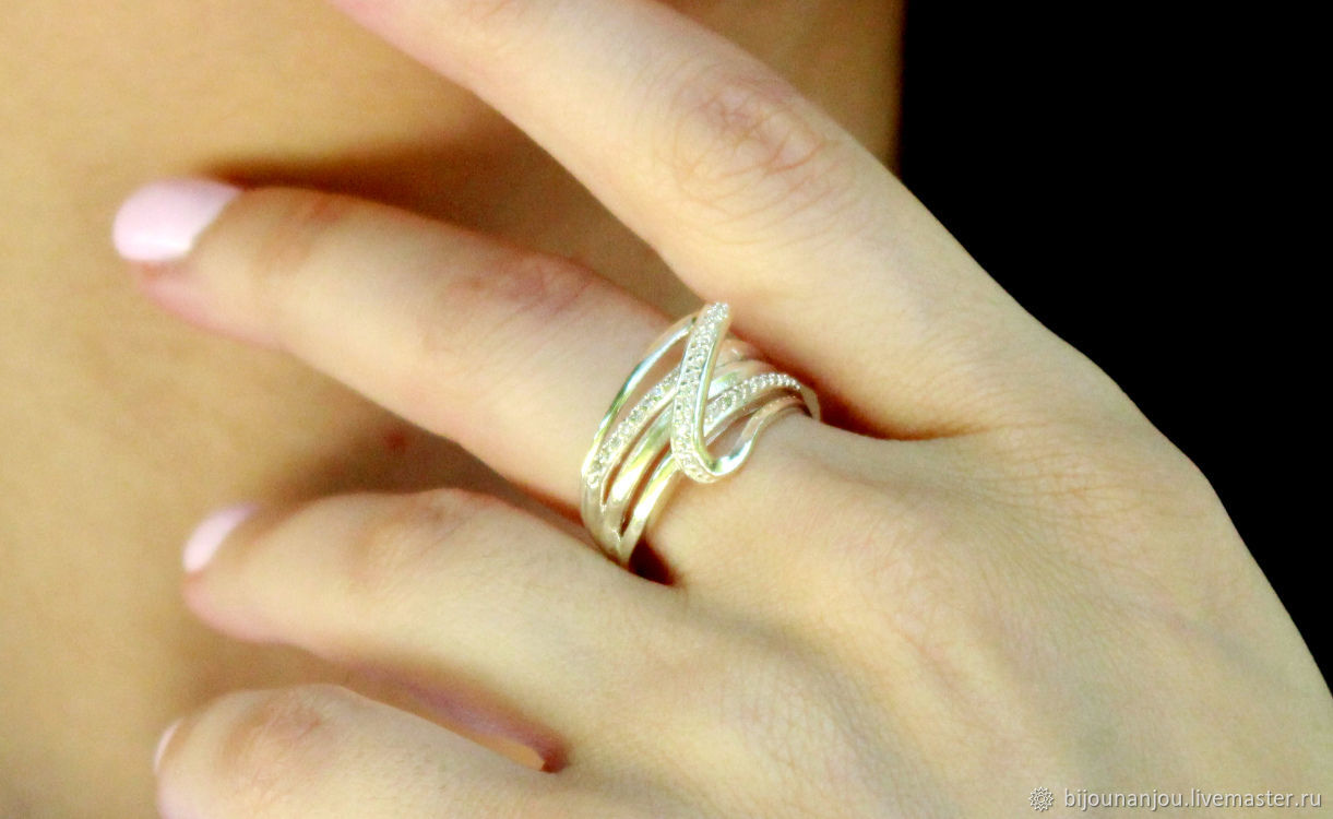 Ring of silver 925 with zircons, Rings, Yerevan,  Фото №1